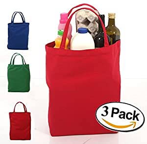 Amazon.com: Large Reusable Grocery Bags Eco Friendly Canvas Tote ...