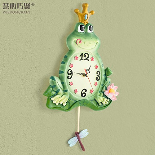Jedfild Wall clock creative fashion modern European style living room clock clock mute bedroom frog prince swing personality wall (Frog Prince Clock)