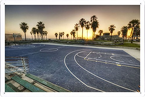 Planet Scene Poster - Los Angeles California Evening Playground Basketball Markup Palms 48031 Tin Sign (8