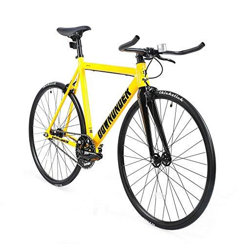 ZOYO Fixed Gear Bike 700C Carbon Fiber Front Fork Aluminum Fixie Road Bike (Yellow)