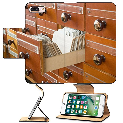 MSD Premium Apple iPhone 7 Plus Flip Pu Leather Wallet Case Old Vintage Library Card Catalog IMAGE 21923864 (Cases Annotated)