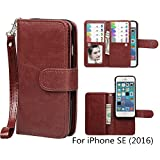iPhone SE / iPhone 5 5S Wallet Case, xhorizon TM SR Premium Leather Magnetic Detachable Folio Phone Wallet Case with Multiple Card Slots for iPhone SE (2016) / iPhone 5 5S -Coffee