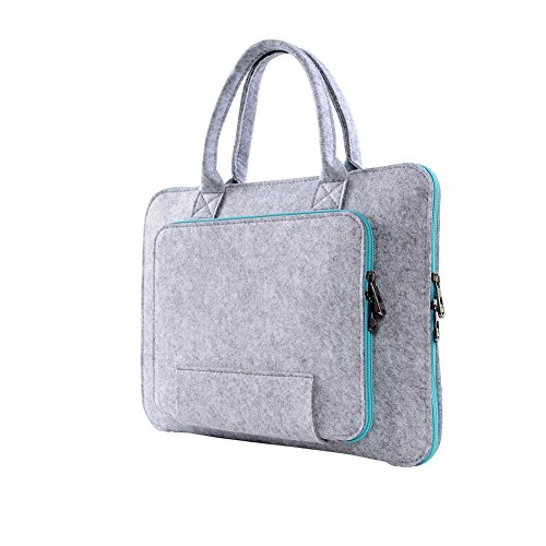 Happy Hours - 13.3 Inch Eco Felt Handbag Sleeve for 13 Inch Apple iPad Macbook Air/Pro, Laptop, Notebook, Netbook / Premium Gray Case Cover for Computer, Tablet, Ultrabook