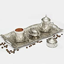 Coffee Cup Set of 2, Premium Silver Tin with Greek, Turkish, Arabian, Ottoman Style Handcrafted Antique Brass, Exprosso Mug Serving Set, Saucers Lids, Tray Delight and Sugar Dish