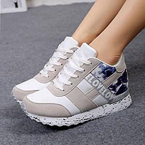 Sneakers Alte Giy Da Donna Fashion Lace Up Zeppa Platform Casual Tacco Mocassino Con Tacco Nascosto Scarpe Grigio-bianco