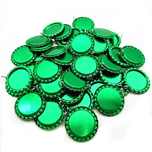 Split Attached Ring - IGOGO Flat Bottle Cap with Holes 8 mm Split Rings Attached,Light Green,50 PCS