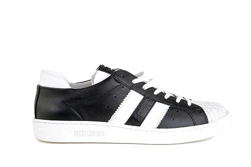 Bikkembergs - Zapatillas de Cuero para Hombre Negro Negro: Amazon.es: Zapatos y complementos