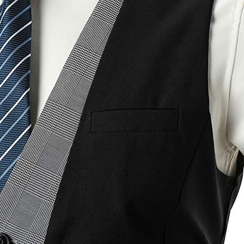 Mangas Ceremonia Blazers Traje Ycueust Hombre Negro Chaleco Waistcoat Vestir Sin Boda De RwUvqY