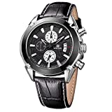 MEGIR Mens Sport Watches Black Leather Strap Chronograph Date Quartz Wrist Watch