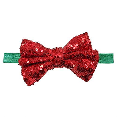 Rarelove Baby Girls Headband XMAS Red Bowknot Sequin Hair Bands Accessories