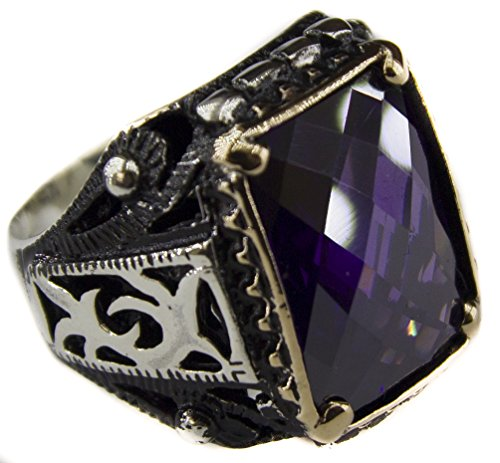 Falcon Jewelry Free Express Shipping, Sterling Silver Men Ring, Created-Amethyst Stone (Antique Amethyst Ring)