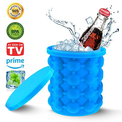 Ice Genie Maker- HAWXS- The Revolutionary Space Saving- Portable And Compact- Perfect For Chilling Out Beverages And Drinks- Drink Holder -Ice Cube Genie- Beverage Cooler- Ice Bucket- LARGE SIZE