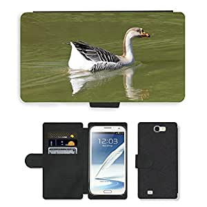 PU LEATHER case coque housse smartphone Flip bag Cover protection // M00129786 Pato Aves Naturaleza Agua Animales // Samsung Galaxy Note 2 II N7100