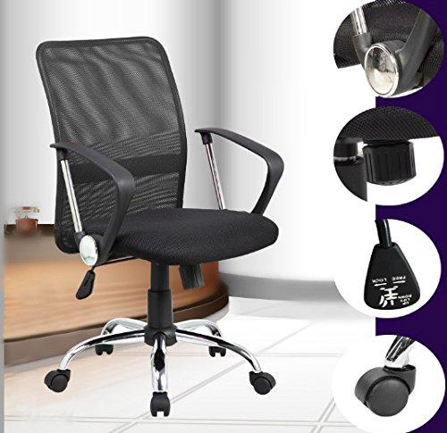 Mid-Back Swivel Mesh Seat Computer Swivel Lumbar Support 8075 BK