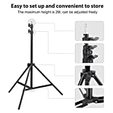 CRAPHY 2Mx3M Studio Portable Background Support System Photography Backdrop Stand Kit with Carrying Case Adjustable Light Stand(80CM-200CM), 4-section Cross bar for Muslin Non-woven …