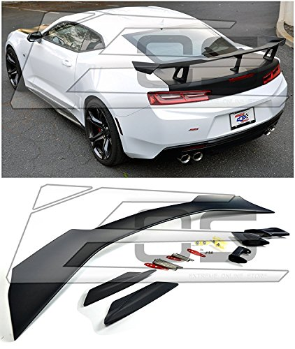 For 2016-Present Chevrolet Camaro ALL Models | ZL1 1LE Style ABS Plastic Primer Black Rear Trunk Lid Wing Spoiler ()