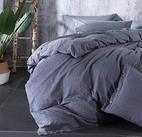 Sleepbella Duvet Cover King, 3 Piece Washed Cotton Duvet Cover Set with Buttons (King, Gray)