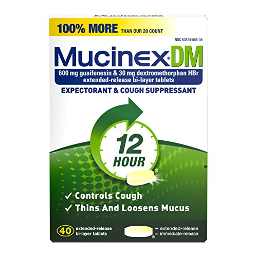 Mucinex DM 12 Hr Expectorant & Cough Suppressant Tablets, 40ct