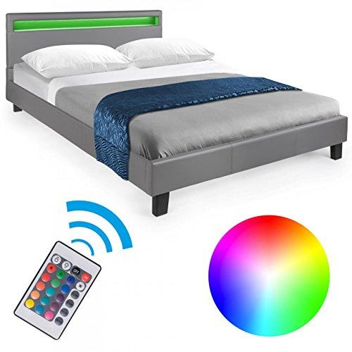 Homelux LED Bett Polsterbett Doppelbett Kunstlederbett Bettgestell Bettrahmen 140 x 200 cm Grau