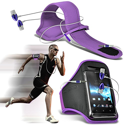 ONX3® ( Light Purple + Earphone ) Alcatel idol 4 Case Stylish Fitted Sports Armbands Running Bike Cycling Gym Jogging Ridding Arm Band Case Cover With in Ear Buds Stereo Hands Free Earphone