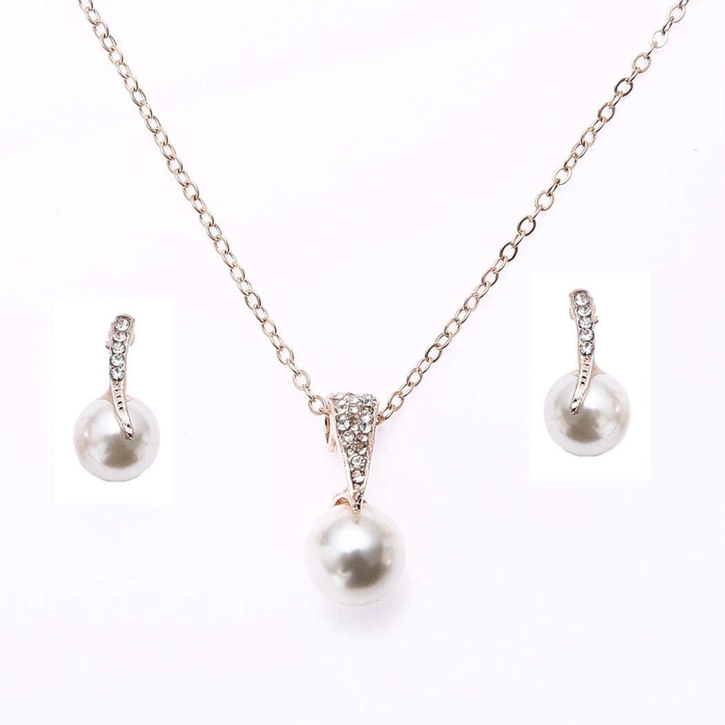 Yerflew Women Ladies Fashion Jewelry Sets Pearl Pendant Necklace Earrings Set Wedding Party Accessories