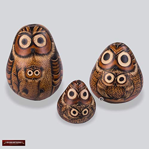 "Peruvian Folk Art Hand Carved Gourd set 3, Owl figurine, gourd ornament, Owl Hand-Carved Gourd Calabash Sculpture, Peruvian Folk Art,""Owl Family"""