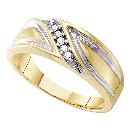 Two Tone Diamond Anniversary Band (Mens Diamond Wedding Band Solid 10k White Yellow Gold Anniversary Ring Curve Leaf Design 2 Tone 1/10 ctw)