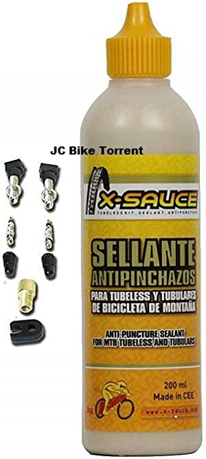 X-Sauce Kit Sellante Anti Pinchazos para Tubeless, Amarillo, 200ml +2 válvulas: Amazon.es: Deportes y aire libre