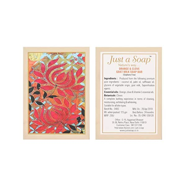 Just A Soap, Orange and Clove Handmade Whitening Soap with Goat Milk, made from Essential Oils and Natural Ingredients… 2021 June Orange and clove is an exfoliating, whitening, shin repair, antiseptic soap with goat milk for Softer, moisturised, hydrated skin. This soap contains essential oils of orange and clove. While Orange oil has skin whitening, cleansing, skin repair, anti-ageing and anti-wrinkle properties, Clove acts as an antiseptic, exfoliating, antioxidant, anti-wrinkle agent.