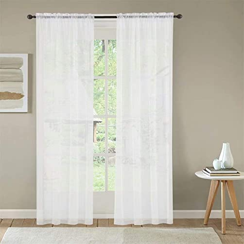 Mitlatem White Sheer Chiffon Curtains 96 Inches Long Rod Pocket Divider Sliding Door Semi Sheer Window Drapes White, 72 W x 96 L
