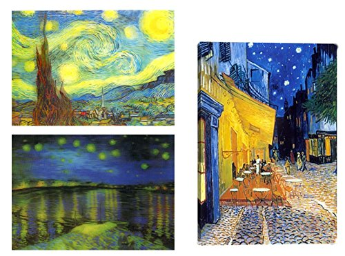 Cafe Postcard (3 Van Gogh Lenticular 3D Postcards - Van Gogh Starry Night , Terrace Cafe)