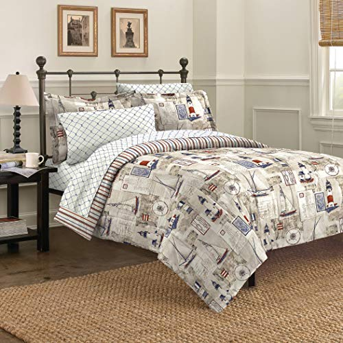 7 Piece Kids Boys Beige Cape Cod Comforter