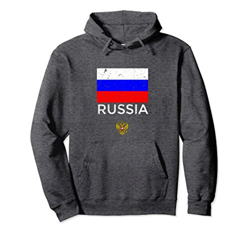 Unisex Russian Flag Hoodie with National Emblem - Russia Design Medium Dark Heather