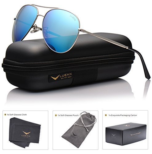 LUENX Aviator Sunglasses Polarized for Men & Women with Case - 400 UV Ice Light Blue Lens Metal Gloss Silver Frame Mirrored - Brand Sunglasses Symbols