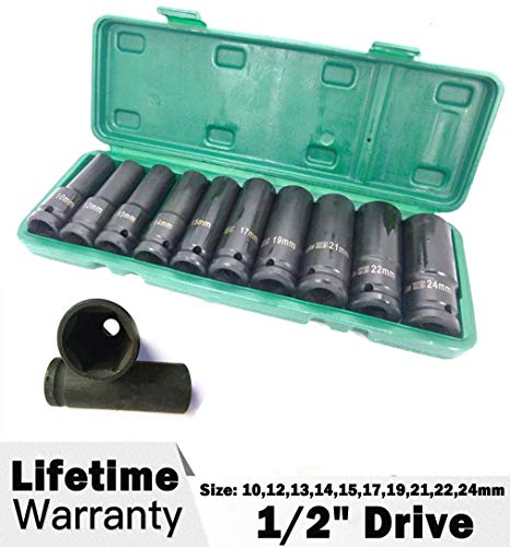 """10mm With Case NEW UK STOCK 10 Piece,1//2/"""" Drive 24mm Impact Socket Set"""