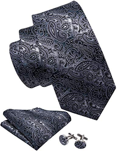 Barry.Wang Black and Grey Tie Set Silk Neckties Formal