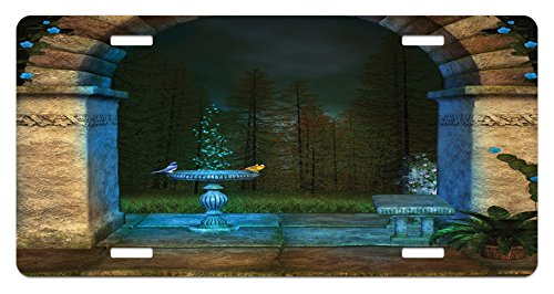 Gothic Display (Gothic License Plate by Ambesonne, Forest Landscape from Ancient Archway Birds on Fountain Fairytale Illustration, High Gloss Aluminum Novelty Plate, 5.88 L X 11.88 W Inches, Blue Grey Green)