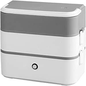 Electric Lunch Box, Portable Food Warmer, 2L Mini Rice Cooker, Food Steamer with 304 Stainless Steel Removable and Leak-Proof Containers for Home, Office, School and Travel
