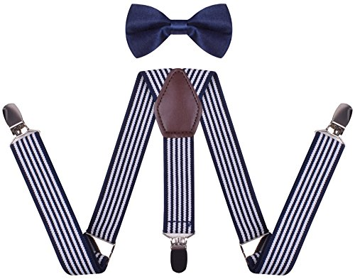 - Suspenders for Kids Clip On Y Shape Braces and Fashionable Bow Ties, boys 26 Inches(3 yrs - 8 yrs), Navy White Stripe