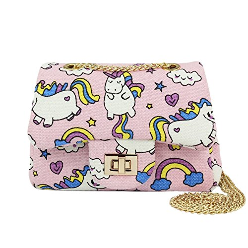 Unicorn Purse - CMK Trendy Kids Sparkly Glitter Toddler Kids Purse for Girls Quilted Little Girl Purses (Unicorn (pink canvas))
