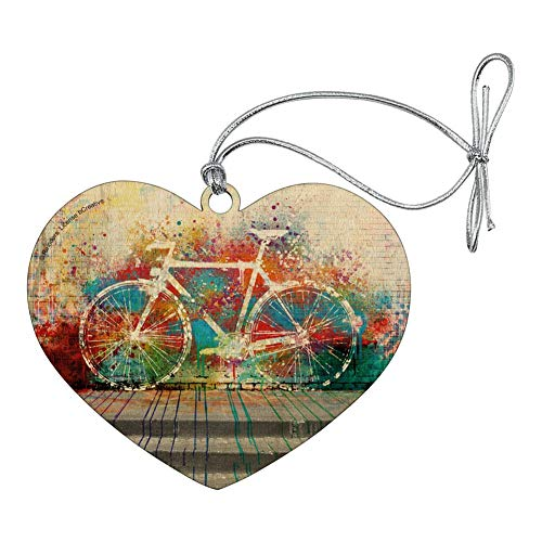 GRAPHICS & MORE Colorful Rainbow Negative Space Bicycle Bike Wall Heart Love Wood Christmas Tree Holiday Ornament (Ornament Holiday Bicycle)
