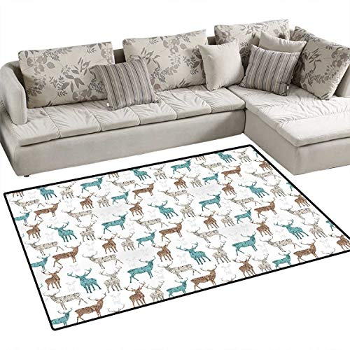 Deer Anti-Skid Rugs Animals with Old Text Pattern Christmas Theme Vintage Inspired Illustration Girls Rooms Kids Rooms Nursery Decor Mats 3'x5' Turquoise Brown Beige