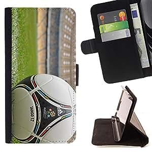 KingStore / Leather Etui en cuir / Samsung Galaxy S5 Mini, SM-G800 / Balón de fútbol