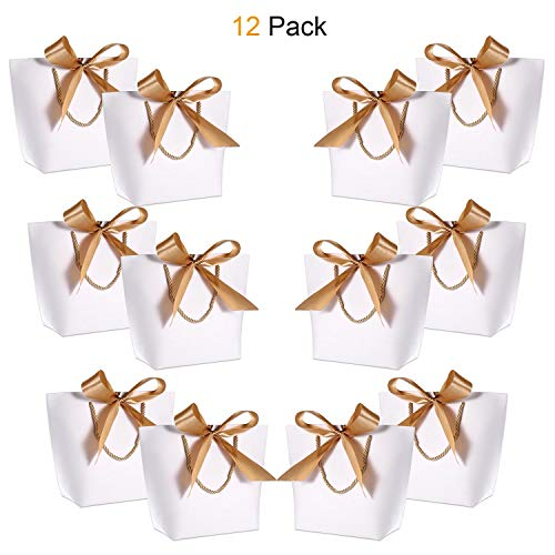 Gift Bags with Handles- WantGor 10.6x7.9x3.6inch Paper Party Favor Bag Bulk with Bow Ribbon for Birthday Wedding/Bridesmaid Celebration Present Classrooms (White, Medium- 12 Pack)