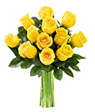 #10: KaBloom Yellow Sunshine Bouquet of 12 Fresh Cut Yellow Roses (Farm-Fresh, Long-Stem)