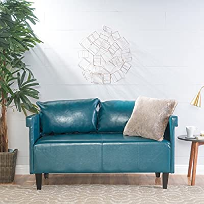 """Christopher Knight Home Bellerose Leather Settee, Teal - Includes: one (1) settee Dimensions: 26. 00""""D x 54. 75""""W x 27. 50""""H Seat width: 49. 00"""" Seat Depth: 24. 00"""" Seat Height: 18. 50"""" Color: Teal - sofas-couches, living-room-furniture, living-room - 519Nv5X9WNL. SS400  -"""