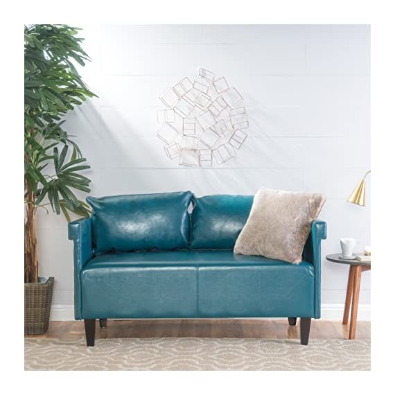 "Christopher Knight Home Bellerose Leather Settee, Teal - Includes: one (1) settee Dimensions: 26. 00""D x 54. 75""W x 27. 50""H Seat width: 49. 00"" Seat Depth: 24. 00"" Seat Height: 18. 50"" Color: Teal - sofas-couches, living-room-furniture, living-room - 519Nv5X9WNL. SS570  -"