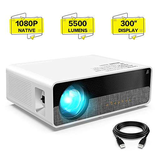 ELEPHAS Projector Q9 Native 1080P HD Video Projector, 5500 Lumens up to 300' Image Display Ideal for PPT Business Presentations Home Theater Entertainment Parties Games