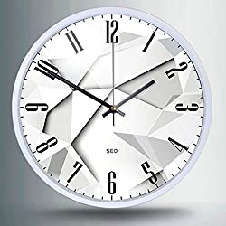 Color Map-Whtie Wall Clock, 12 Inch Silent Non Ticking Quality Quartz Battery Operated Easy to Read Home/Office/School Clock, With Stoving Varnish Finished Metal Frame(White Jigsaw,White)