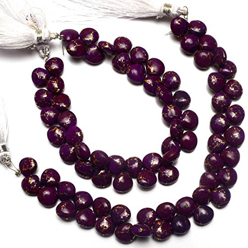 1 Strand Natural Mojave Purple Arizona Copper Turquoise 8MM Approx. Smooth Heart Shape Briolette Beads 7 ()